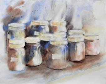 "Original watercolor still life ""Jars"""
