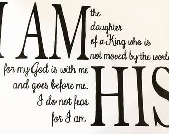 "16"" x 20"" I Am His - Hand lettered sign, created on framed, stretched canvas."