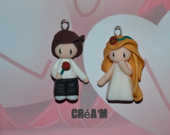 Set of 2 Poupettes boy + girl with pink version 2 - Valentine's day Collection - jewelry handmade