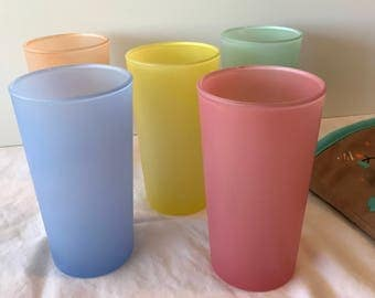 Vintage pastel frosted drinking glasses - set of five from Firna