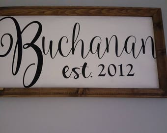 Last name wooden sign with canvas and heat transfer vinyl