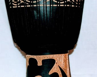 Djembe African drum, Hand crafted African musical instrument for folk drumming and dancing.