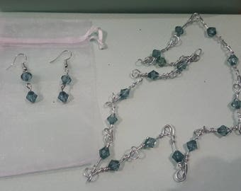 Wire wrap necklace & earring set
