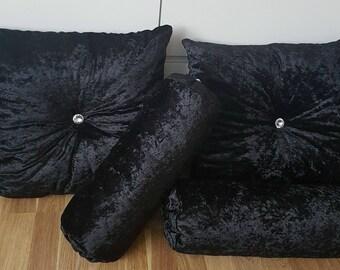 Black crushed velvet cushion set of 4