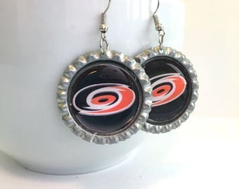 Carolina HURRICANES Handcrafted Hockey Earrings