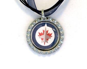 Winnipeg JETS Handcrafted Hockey Necklace