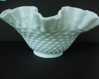 Vintage Hobnail Milk Glass Bowl with Double Ruffle Rim made by Fenton Glass