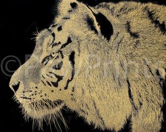 Tiger Art Print: Scraperfoil