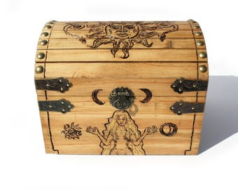 Celestial Goddess Wood-Burned Pyrography Box