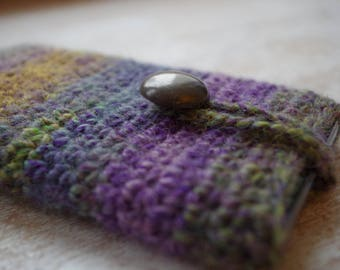 hand knit cell phone iphone smartphone slip case knitted universal size