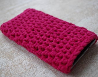 hand knit  case external disc cell phone iphone smartphone slip cuniversal size