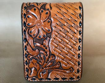 Hand Tooled Bifold Money Clip Leather Wallet
