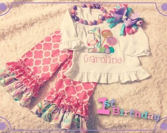 Girl's 1st Birthday Candy Outfit Ruffle Pants Applique Shirt