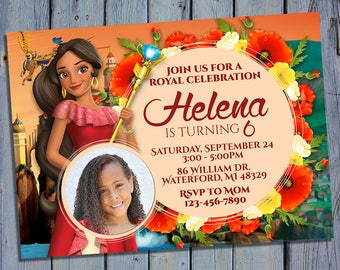 Elena of Avalor Birthday Invitation, Princess Elena Party Card Invite, Disney Printable Digital Invitations, Custom Photo Printables