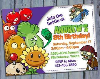 Plants vs Zombies Birthday Invitation, Plant vs Zombie Party Card Invite, Video Game Printable, Digital Invitations, Custom Printables