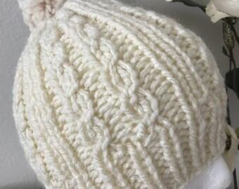 Knitted Pom Pom Women's Winter Hat Cream and beige.