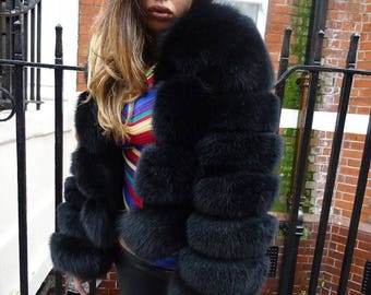 Black fox fur coat jacket