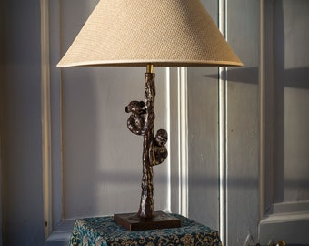 Bronze table lamp Monkey and Gorilla