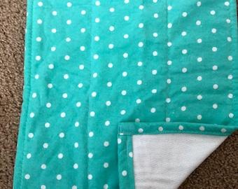 Green with White Polka Dots Burp Cloth