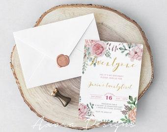 Rustic Floral Birthday E-Invitation
