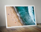 New Zealand Beach Sweets - Sunbathers, Surfers and Umbrellas. Drone Aerial View Seascape