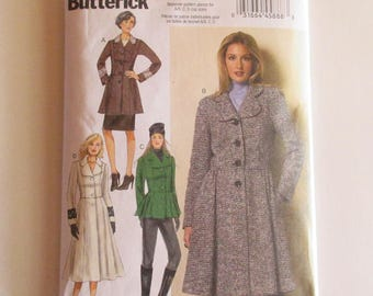 Vintage Butterick Peplum Coat Sewing Pattern B6143 6143 Sizes 6-14 Uncut New Condition