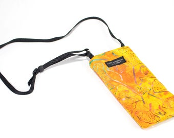 Gingko Orange fabric Eyeglass Reader Case -with adjustable neck strap lanyard