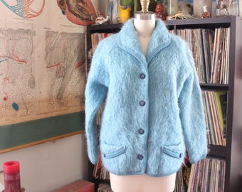 light blue 1960s mohair cardigan . womens vintage sweater size large xl, Maban luxury mohair, made in Scotland 60s sweater jacket