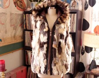 AS IS SALE vintage hooded rabbit fur vest . patchwork fur coat . read item details!  womens large xl