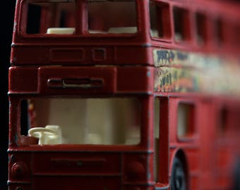 """Close-up of a vintage toy double decker bus.  20"""" x 30"""" archival print on a luster paper."""