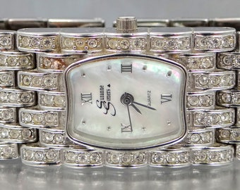 Suzanne Somers Wide Rhinestones Bracelet Watch