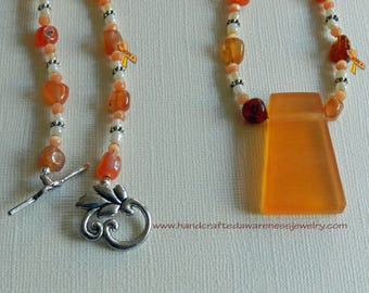 Coral Agate Nugget, Orange Resin Pendant, Antique Silver Accents, Splash of Fall Necklace