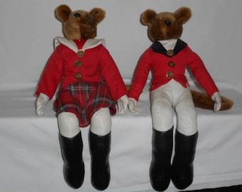 Handford's Inc Foxhunt Man Lady Couple Shelf Sitters Fox Stuffies Vintage