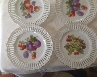 Porcelain Lace Salad Dessert Plates Set Of Four Gold Trim USA  WWII War Era 1940s
