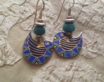 Laurel Burch PAJARITA BIRD Cloisonne Earrings French Earwires Vintage Jewelry 1980s Gold Filled Turquoise Blue Black
