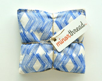Organic Lavender Sachets in Natural Linen and Blue Sketch Diamonds Fabric Set of 2 Lavender Scented Pillows Natural Home