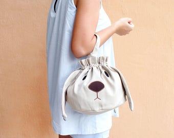Bunny Drawstring Bag, Bunny Pouch, Bunny Purse, Drawstring Bag Women, Drawstring Bag Kids, Drawstring Purse, Rabbit Purse, Twinning Outfits