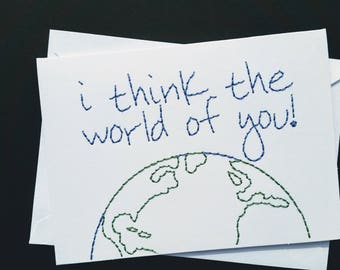 the world hand-embroidered card