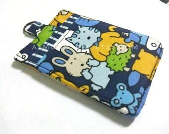 Kawaii animals, blue, women wallet, credit id work card case , moneystash , id171106 front pocket, gift ideas, teacher, slim card, minimal