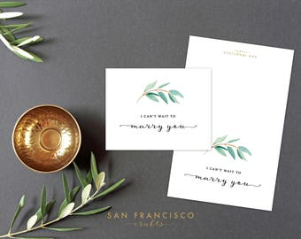 I Can't Wait to Marry You Card | Eucalyptus Wedding Card | To my Groom, To my Bride | A2 Folded Card | Printable PDF, Instant Download - AVA
