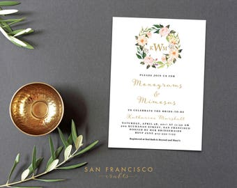 Monograms and Mimosas Bridal Shower Invitation | Instant Download Template | Boho, Pink, Wreath | Katharine Collection | PDF