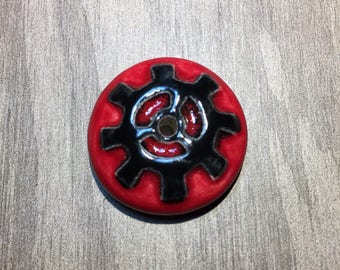 Red and Black Ceramic Gear Bead Donut