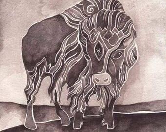 Star - Bison Giclee print by Megan Noel