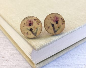 Lavender Purple Tulip Printed on Natural Wood Button with Surgical Steel Posts Stud Earrings