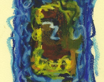 Dangerous - small mixed media work - oil pastel over monoprint in blue, green, yellow and orange