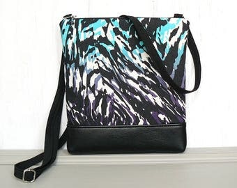 Zipper Crossbody Bag, Cross Body Purse, Small Hip Bag, Sling Purse - Wild Thing in Black, Purple and Turquoise