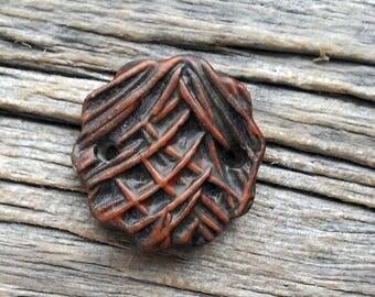 Bracelet Topper  Stoneware Ceramic Spruce Needle Texture  by Mary Harding