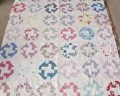 UNfinished Vintage Cotton Fabric Patchwork Squares Quilt Top 62x72
