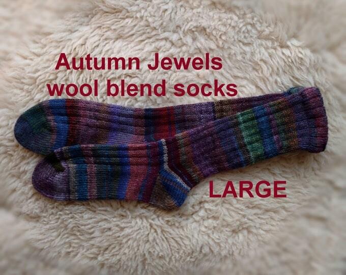 AUTUMN JEWELS Socks --- washable wool acrylic blend --- LARGE