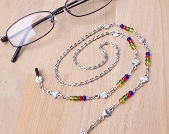 Rainbow eyeglasses chain - heart link and rainbow beads glasses lanyard | Colourful eyewear neck cord | Sunglasses chain | Eyeglasses holder